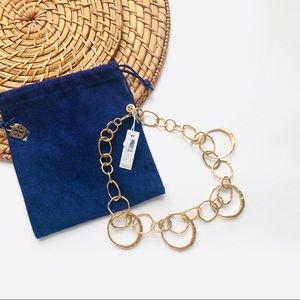 NWT Tory Burch Hammered Circle Link Necklace